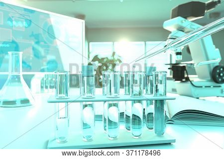 Drinkable Water Quality Test For Conductivity - Laboratory Test Tubes In Modern Scientific Study Cli