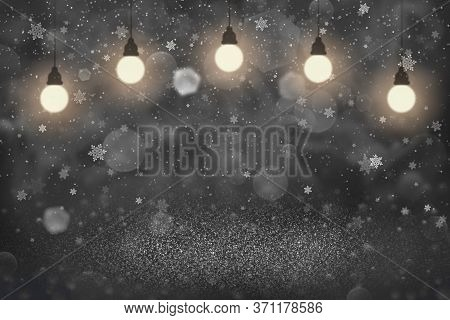 Blue Nice Shiny Abstract Background Glitter Lights With Light Bulbs And Falling Snow Flakes Fly Defo