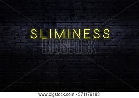 Neon Sign On Brick Wall At Night. Inscription Sliminess