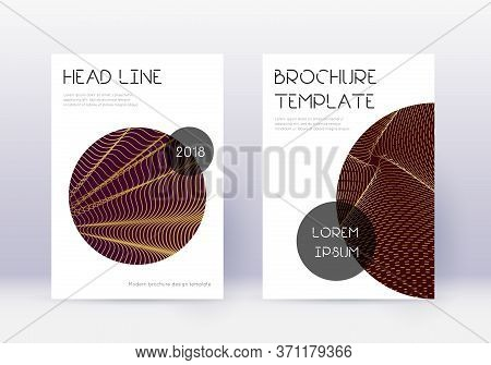 Trendy Cover Design Template Set. Gold Abstract Lines On Maroon Background. Flawless Cover Design. R