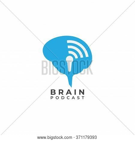 Brain Podcast Logo Design Template. Blue Brain With Microphone Icon And Signal Wave Illustration Log