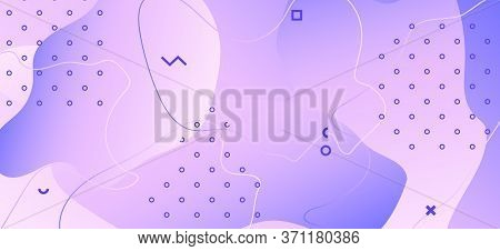 Abstract Purple Background. Violet Memphis Shapes. Fluid Motion. Futuristic Decoration. Pink Vector