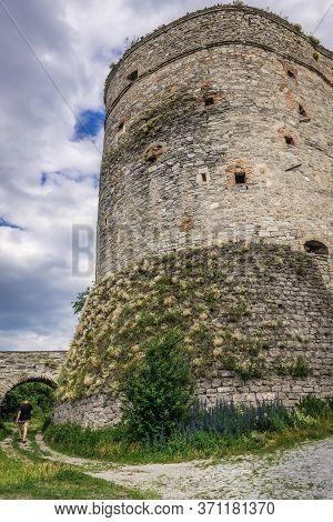 Kamianets Podilskyi, Ukraine - June 13, 2017: Stephen Bathory Tower, Part Of Historic Walls Of Kamia