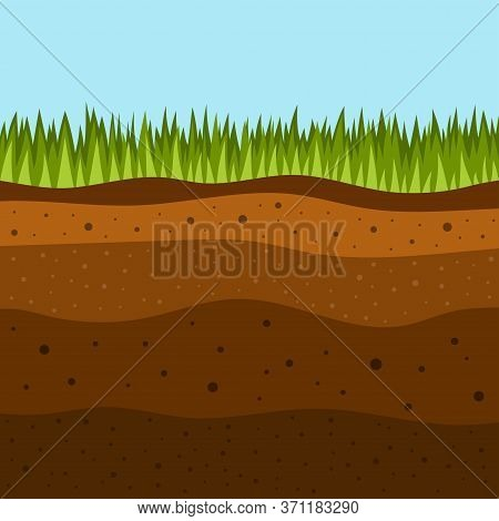 Soil Layers With Green Grass On Top, Stratum Of Organic, Minerals, Sand, Clay, Silt, Parent Rock And