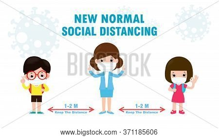 Back To School For New Normal Lifestyle Concept, Social Distancing, Children And Teacher Wearing A S