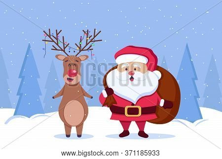Merry Christmas and Happy New Year background. Santa and deer. Merry christmas greeting card vector background. Merry christmas and happy new year. Vector