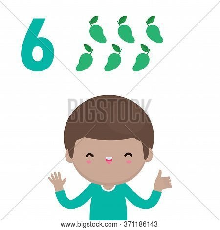 Happy Children Hand Showing The Number Six, Cute Kids Showing Numbers 6 By Fingers. Little Child Stu