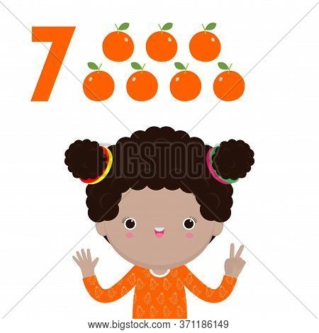Happy Children Hand Showing The Number Seven, Cute Kids Showing Numbers 7 By Fingers. Little Child S