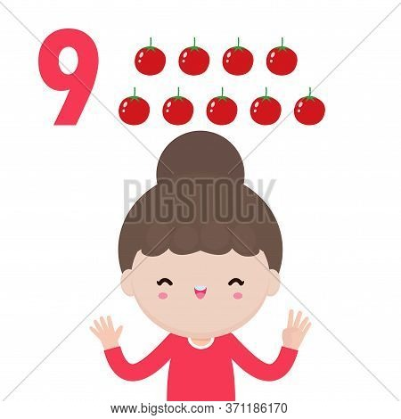 Happy Children Hand Showing The Number Nine, Cute Kids Showing Numbers 9 By Fingers. Little Child St