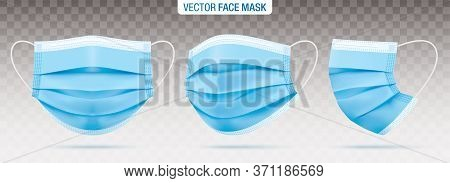 3 Ply Surgical Face Masks Isolated On A Transparent Background. Vector Set Of Disposable Blue Medica