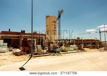 Torrevieja, Valenciana, Spain - June 13 2020 : New Homes Under Construction On Spanish Urbanisation