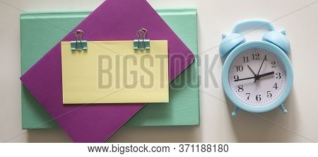 Blank Notepad Message Sticky Note Letter Size Sheet Squared Paper Note Marker Small Alarm Clock Wake