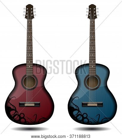 Guitar Set Isolated On White Background. Classic Guitar For Your Business Project. Black And Red And