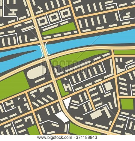 City Navigation Map With Symbols Of Streets, Houses, Parks And River. Graphic Illustration Of City M