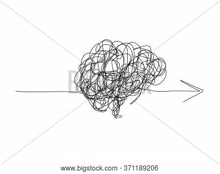 Mental Health ,brain Development  Medical Treatment Concept, Messy Line In A Shape Of Brain With Arr