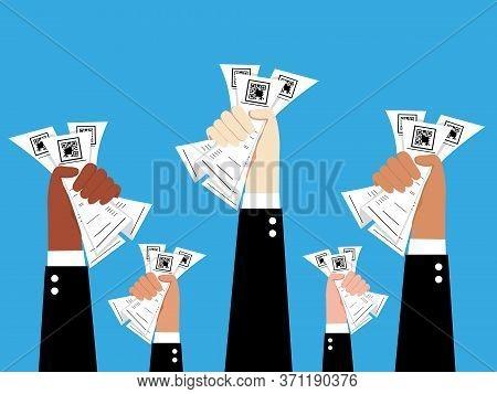 Hands Of Businessman Holding Bills ,global Recession Concept,bills Vector,economic Crisis , Vector I