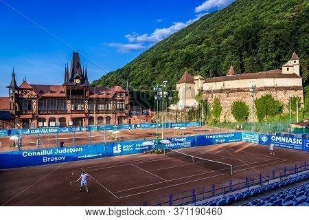 Brasov, Romania - July 18, 2019: Olimpia Sports Complex And Weavers Bastion In Brasov City, Transylv