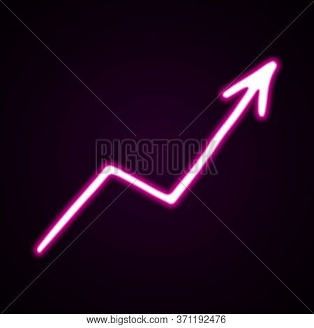 Neon Pink Moving Arrow Vector Icon. Hand-drawn Vector Illustration Of A Pointer On Black Background