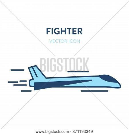 Fighter Jet Icon. Vector Flat Outline Illustration Of A Small And Fast Military Jet Fighter Flying.