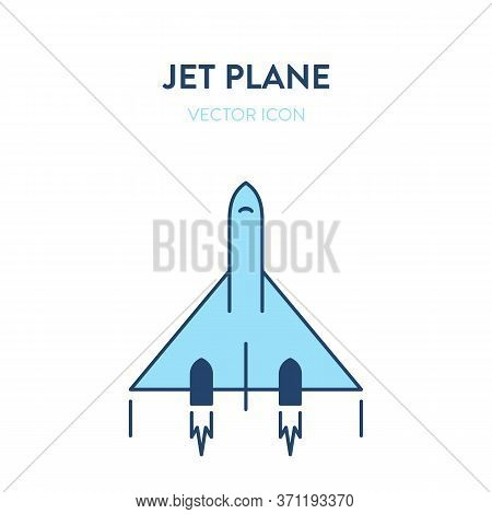 Jet Plane Icon. Vector Flat Outline Illustration Of A Small And Fast Military Jet Fighter Flying. Re