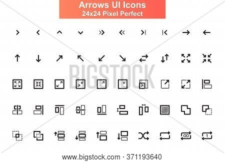 Arrows Ui Icons Set. Increase, Decrease, Resize, Expand Line Pictograms For Website And Mobile App G