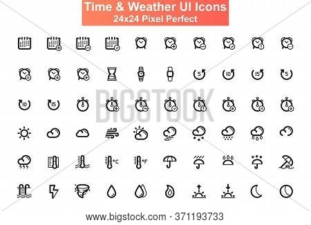 Time And Weather Ui Icons Set. Time Organization And Climate Line Pictograms For Website And Mobile