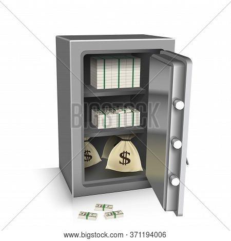 Open Safe Deposit 3d. Wealth Concept. Vector Illustration