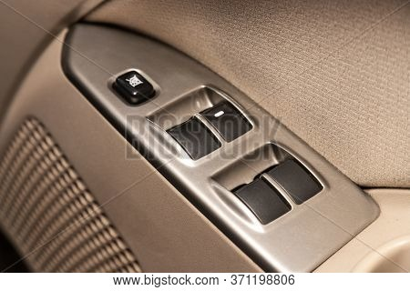 Novosibirsk/ Russia - June 03, 2020: Mitsubishi Colt, Close Up Of A Door Control Panel In A New Mode