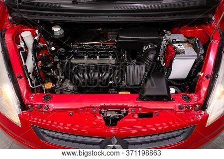 Novosibirsk/ Russia - June 03, 2020: Mitsubishi Colt, Close Up Of A Clean Motor Block. Internal Comb