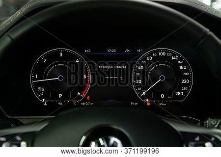 Novosibirsk/ Russia - March 15, 2020: Volkswagen Touareg, Car Panel, Digital Bright Speedometer, Odo