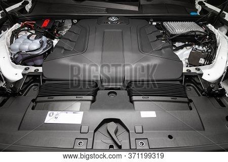 Novosibirsk/ Russia - March 15, 2020: Volkswagen Touareg,  Close Up Of A Clean Motor Block. Internal
