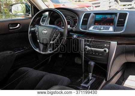 Novosibirsk/ Russia - May 22, 2020: Nissan Teana, Prestige Car Interior With Dashboard, Steering Whe