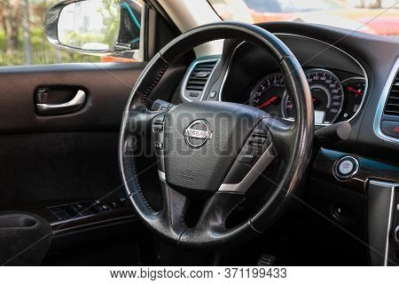 Novosibirsk/ Russia - May 22, 2020: Nissan Teana, Salon Of A New Stylish Car. Auto Interior: Dashboa