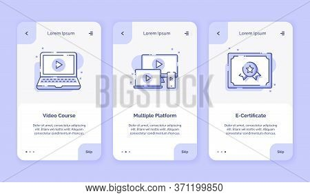Onboarding Icon Online Course Video Course Multiple Platform E Certificate Campaign For Mobil Apps H