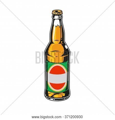 Glass Bottle Full Of Lager Beer In Vintage Style Isolated Vector Illustration