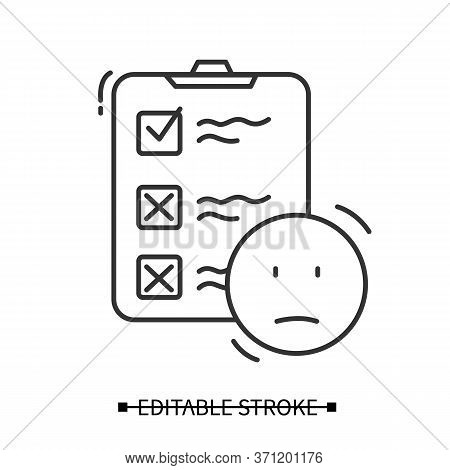 Neutral Customer Experience Icon. Clipboard And Neutral Smile Line Pictogram. Marketing Research, Co