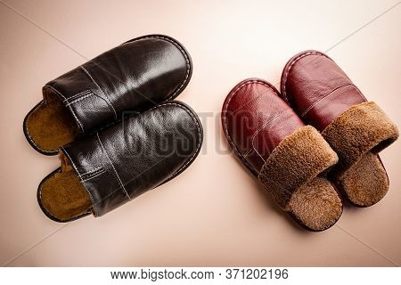 Leather Home Slippers On Pink Background. Soft Comfortable Home Slipper. Stay At Home Concepts.