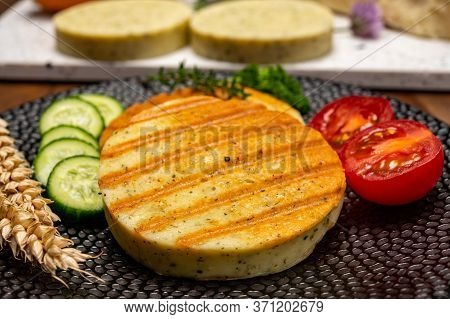 Yellow Cheese Based Grilled Vegetarian Burgers, Meat Free Healthy Food