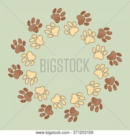 Dog Cat Pet Animal Paw Foot Hand Drawn Ink Sketch Frame Border Art Vector