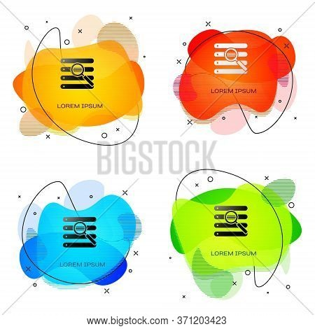 Black Search In A Browser Window Icon Isolated On White Background. Abstract Banner With Liquid Shap