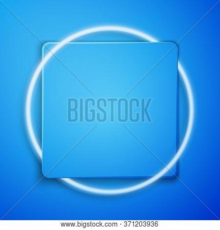 White Shaving Gel Foam Icon Isolated On Blue Background. Shaving Cream. Blue Square Button. Vector I