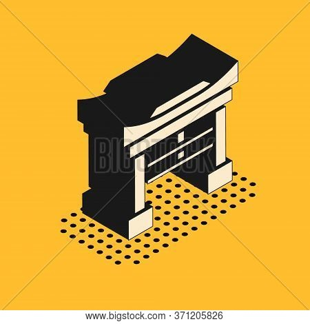 Isometric Japan Gate Icon Isolated On Yellow Background. Torii Gate Sign. Japanese Traditional Class