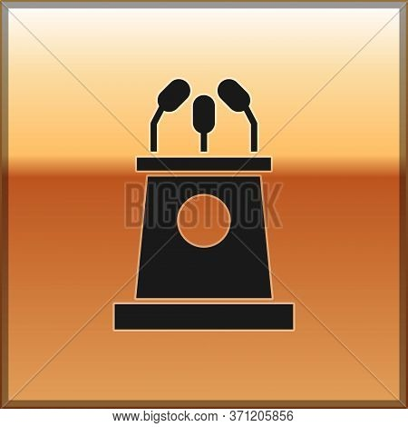 Black Stage Stand Or Debate Podium Rostrum Icon Isolated On Gold Background. Conference Speech Tribu