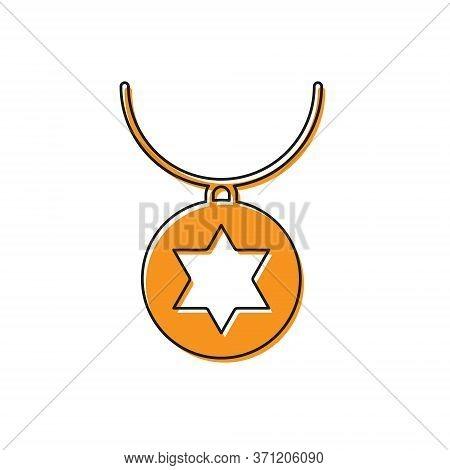 Orange Star Of David Necklace On Chain Icon Isolated On White Background. Jewish Religion. Symbol Of