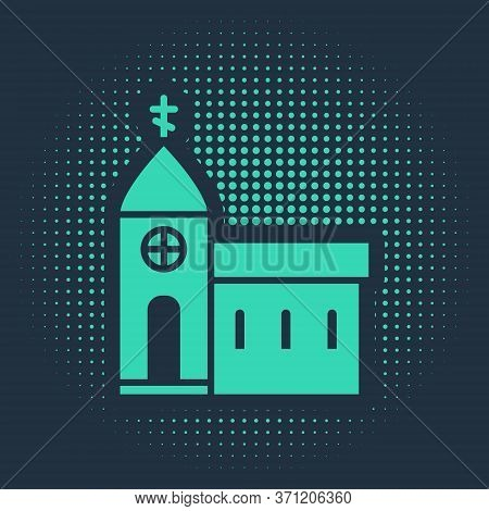 Green Church Building Icon Isolated On Blue Background. Christian Church. Religion Of Church. Abstra