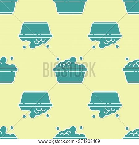 Green Plastic Basin With Soap Suds Icon Isolated Seamless Pattern On Yellow Background. Bowl With Wa