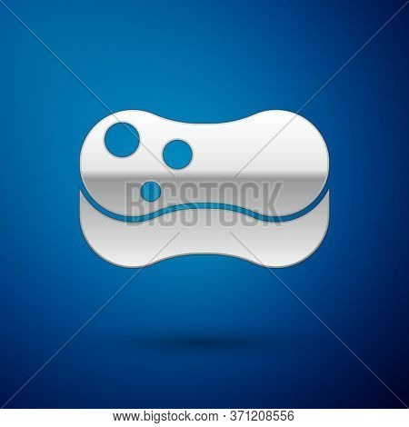 Silver Sponge Icon Isolated On Blue Background. Wisp Of Bast For Washing Dishes. Cleaning Service Co