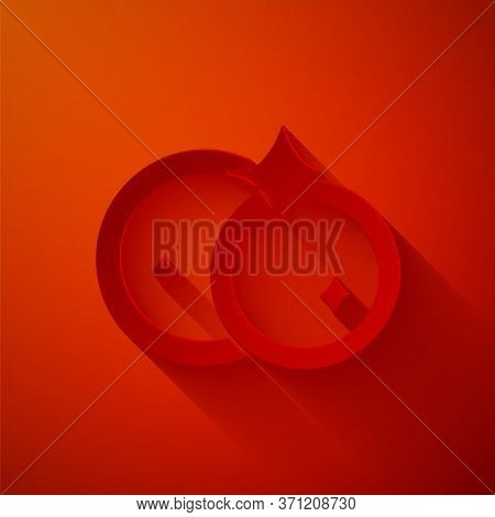 Paper Cut Washing Dishes Icon Isolated On Red Background. Cleaning Dishes Icon. Dishwasher Sign. Cle