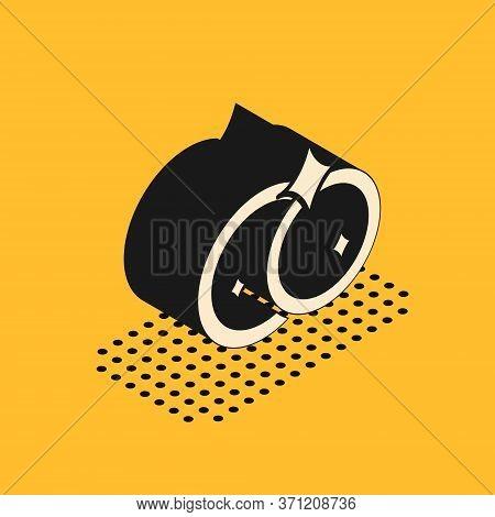 Isometric Washing Dishes Icon Isolated On Yellow Background. Cleaning Dishes Icon. Dishwasher Sign.