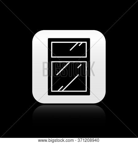 Black Cleaning Service For Windows Icon Isolated On Black Background. Squeegee, Scraper, Wiper. Silv